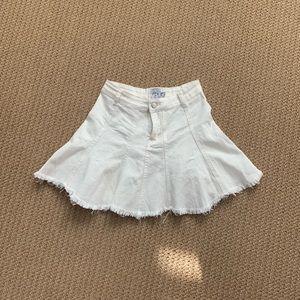 White jean ruffle mini skirt